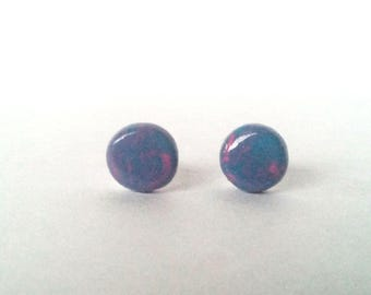 """Blue/Pink mixed """"Cotton Candy""""  polymer clay earrings"""
