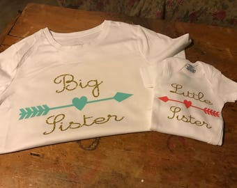 Big Sister Outfit - Little Sister Outfit - Matching Sibling Outfits - Sibling Shirts - Big Sister Little Sister Outfits - Sister Shirts
