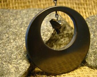 "Shungite pendant ""circle within a circle"" with the elite shungite from Karelia mascot."