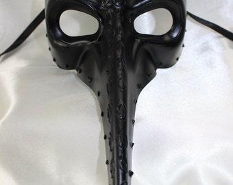 Mens Long Nose Plague Doctor Black Gothic Venetian Masquerade Mask - Quality Replica 27656