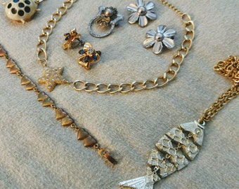 Vintage Kitsch, Folksy and Fun Jewelry Lot