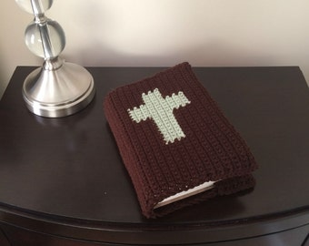 Brown Crochet Bible Cover with Cross - Handmade