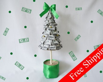 Little Money Tree Topiary Small Green Money Gift FREE SHIPPING Home Decor Money Souvenir Money Tree Dollars Paper tree Business Gift for men
