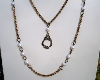 Antiqued Gold Freshwater Pearl Convertible Necklace Set