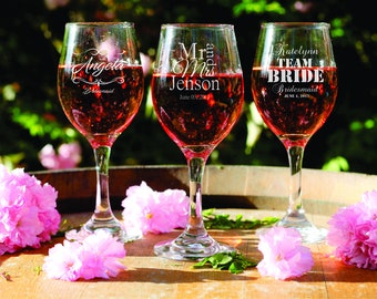 10 Custom Glasses - Etched Wine Glasses - Personalized Bridal Gifts - Wedding Party - Shower - Laser Engraved Glassware - Bridesmaid - Bride