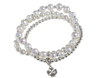 Lucky Clover Pearl Bracelet