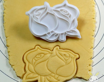 Two Roses Cookie Cutter and Stamp set