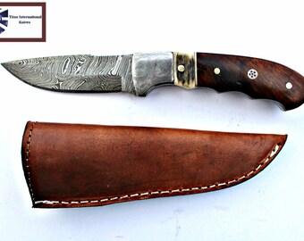 DAMASCUS KNIFE/ Titan/ Stag & Walnut scales TD-159