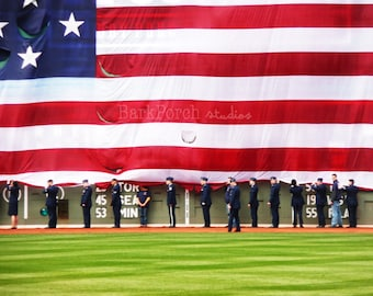"""Fenway Park: """"Opening Day""""; Boston, Massachusetts; Patriotic photograph print; United States Air Force holding American Flag"""