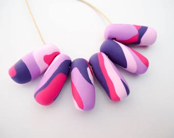Violet Swirl Necklace – Handmade with Polymer Clay