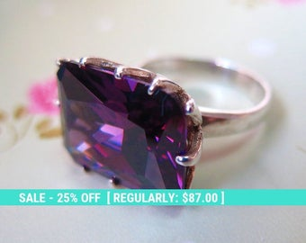 Silver Ring, Alternative Ring, Cubic Zirconia, Big Zircon Ring, Sterling Silver Ring, Square Purple Ring, Purple Jewelry, Big Silver Ring