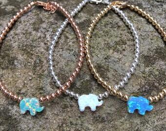 Opal Elephant Beaded Bracelet, Opal Elephant Bracelet, Elephant Bracelet, Elephant Jewelry