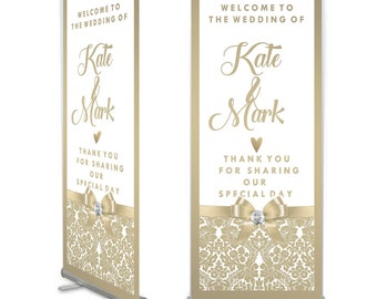 Champagne Satin Wedding Welcome Banner