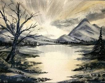 Winter lake  - Original Watercolor painting by Martin Apergis
