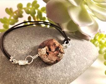 "Brown ""Agate"" Bracelet, Leather"