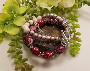 20% off Sale **Three Strand Red Blush Bracelet, Beaded, Toggle Clasp