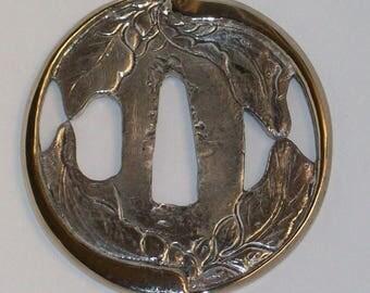 Silver Wakizashi Tsuba