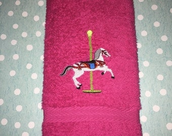 Custom Embroidered Carousel Hand Towel