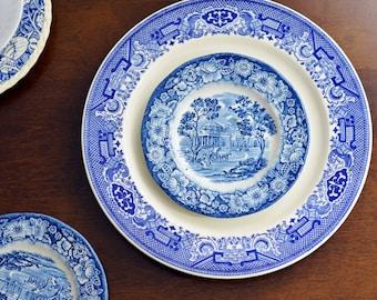 Vintage Wedgwood Brunch Set, Vintage Dishware Set, Blue Place Settings