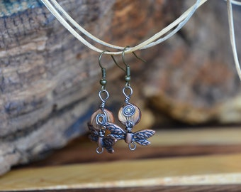 Dragonfly and Wood Inspired Bead Earrings