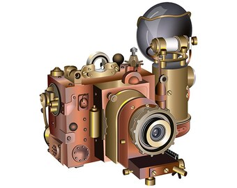 Steampunk Camera - Vector Art - Print