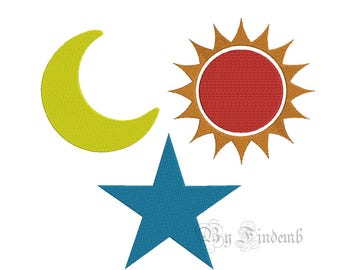 Sun Moon and Star Embroidery Designs 13 size Instant Download