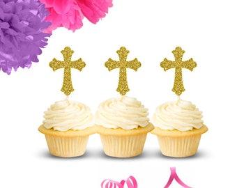 Cross Cupcake Toppers (Set of 12), Baptism Cupcake Toppers, Christening Cupcake Toppers, Communion Cupcake Toppers, Confirmation Toppers