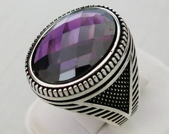Handmade 925 Sterling Silver Ultra Zircon Stone Men's Ring #M21