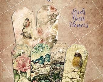 Printable Gift Tags / Labels . Digital Collage Sheet. Instant download. JPG. Bird, flower, rose, nest. Vintage. Instant download.