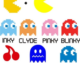 Pac Man ghost Video Game Old School Original File Download SVG EPS PNG art clipart
