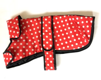 Cute red and white spotty small dog jacket