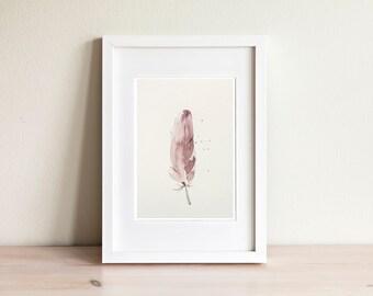 Illustration plume mauve, purple feather illustration / fait main, handmade