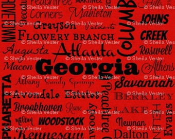 Georgia Cities fabric - Fat Quarter - red and black - grey and black