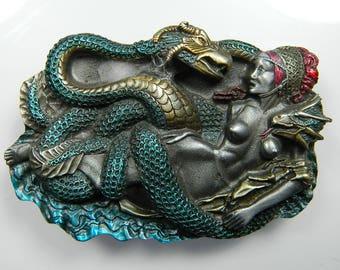 Dragon Serpent Monster Snake Goddess Queen Naked Lady Breasts Adam and Eve  Horns Devil Belt Buckle