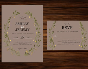 Green Wreath Wedding Invitation & RSVP Card by PrintablePapery [printable]