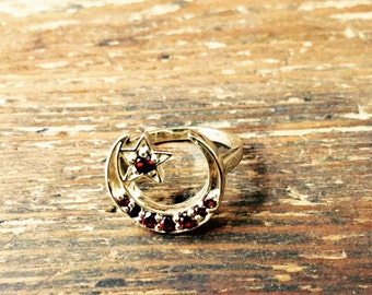 Vintage Inspired Handmade Crescent Moon and Star Ring