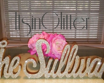 Mr and Mrs LAST NAME, Wedding Sign, Mr & Mrs Last Name Table Sign, Introducing last name glittered Wedding Decor