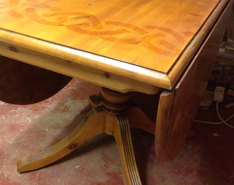 upcycled pine drop leaf table