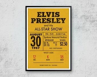 Elvis Presley Print Art, Elvis Presley Poster, Elvis Concert Ticket, Pop Art Print