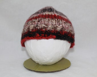 Hand Knitted Infant Hats - Cream/Black/Red