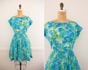 1950's Blue and Green Floral Sun Dress