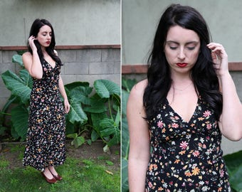 1990's ESPRIT black floral maxi dress
