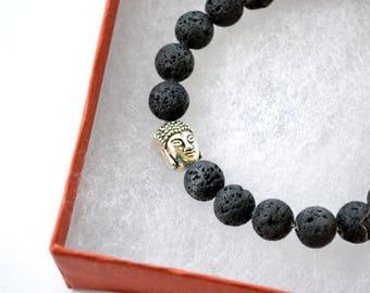 8mm Silver Lava Stone Yoga Beaded Bracelet