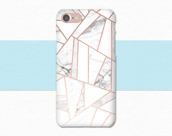 Rose Gold Marble Phone Case, Pink White iPhone 6 Case, iPhone 7 Case, Geometric iPhone 7 Plus Case, 6S Plus, Phone Case Geometric Phone Case