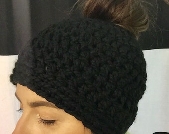 Top Knot Hat - Black