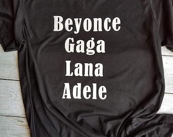 Black Playlist Vneck / Ladies / Beyonce, Gaga, Lana, Adele / Tshirt / Urban Style / Street Wear / Customizable - Any 4 Artist , your choice!