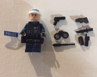 Custom building block Riot Cop mini-figure with gear