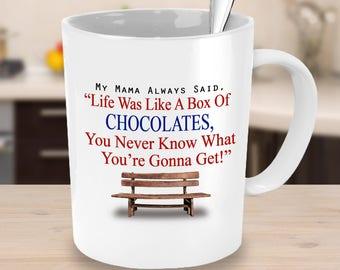 Movie coffee mug- Movie mug-Movie coffee cup-Forrest gump movie- Life Was Like A Box Of Chocolates Mug-gift ideas
