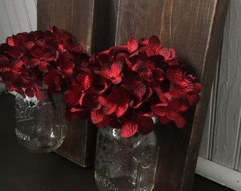 Mason Jar Sconces, Mason Jar Wall Sconces, Rustic Mason Jar Sconces, Mason Jar Vase, Flower Vase, Set of 2 Dark Walnut Stain Sconces
