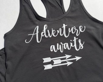 Adventure Awaits shirt, adventure shirt, womens camping shirt, camping shirt, camp shirt, vacation shirt